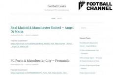 フットボール・リークスのトップページ。文字だけの簡素なつくりとなっている。
