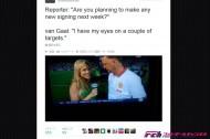 「私は2つのモノに狙いを定めている」。マンUファン・ハール監督が試合後に女性リポーターを凝視