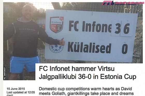エストニア杯で36-0の大勝劇。DFが1試合10ゴールの活躍