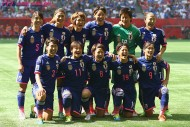 VANCOUVER, BC - JULY 05:  Japan line up against the USA during the FIFA Women's World Cup 2015 Final between USA and Japan at BC Place Stadium on July 5, 2015 in Vancouver, Canada.  (Photo by Matthew Lewis - FIFA/FIFA via Getty Images)