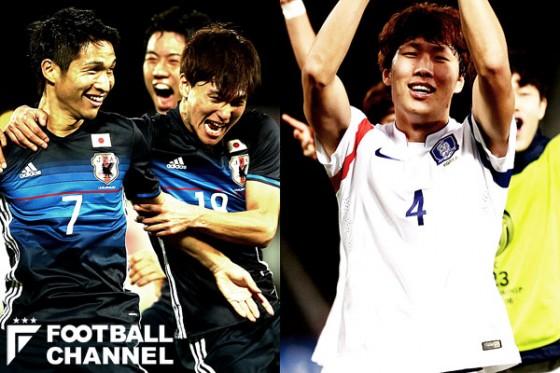 日本代表(左)と韓国代表(右)