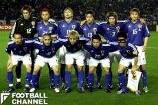 2002年W杯、ロシア戦のスターティングメンバー。日本の同大会初勝利を勝ち取った