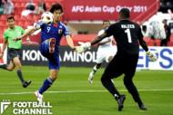 2011年のアジアカップ・サウジアラビア戦でハットトリックを達成した岡崎慎司