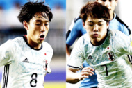 U-20日本代表の三好康児(左)と堂安律(右)