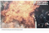 炎が上がる観客席